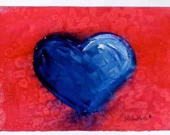 Gift for Teen, Blue Heart, Original Painting, Valentine Gift, Gift Under 30, Gift for Teen Girl, Kitchen Decor, Kitchen Art, Original Art