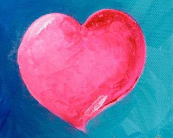 Original Fine Art Painting - Pink Heart Blue Background - Valentine, Small Artwork