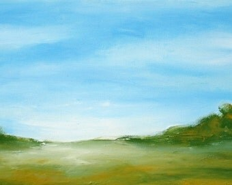 Landscape Painting, Abstract Landscape Art, Blue Green, Original Art, Painting 41, Living Room Decor, Home Office Artwork, Canvas Wall Art