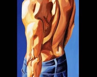 Gay Male Art, Sensual Male, Figurative Painting, Poster Print, 16 x 20, Gay Figure Art, Male Art Nude, Bedroom Art, Figure Painting, Gay Art