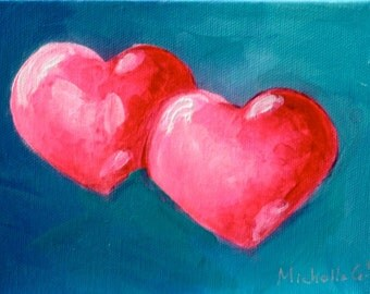 Original Fine Art Painting - Two Pink Hearts on Blue Background - Valentine