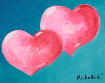 Two Rose Pink Hearts on a Blue Background, Original Fine Art Painting,  Valentine Canvas Wall Art