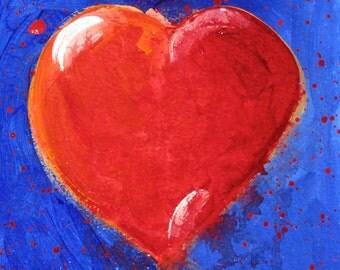 Original Fine Art Painting - Red Heart, Blue Background-Valentine