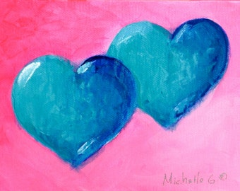 Girlfriend Birthday Gift, Original Painting, OOAK Heart, Art Under 50,  Small Artwork, Gift For Her, Canvas Painting, Two Hearts, pink, blue