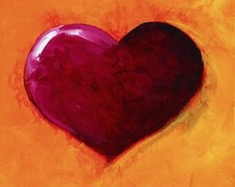 Original Fine Art Painting on Canvas, Red Heart Art, Orange Home Decor, 10 x 10 Wall Art, Valentine's Day Gift for Her, Kitchen Artwork