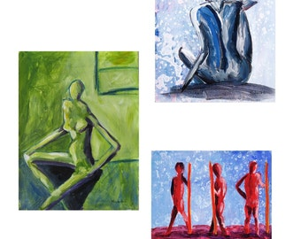 Abstract Figurative - Set of 4 Note Cards - Gift, Hand Crafted and Hand Assembled