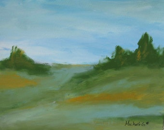 Original Painting, Fine Art, Kitchen Art, Living Room Art, Green and Blue Tones - Nature Landscape 4, Home Decor