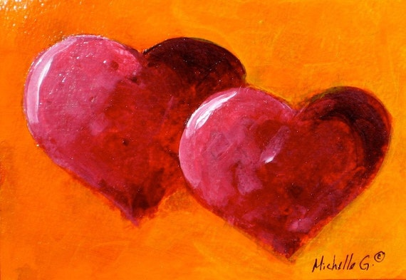 Original Painting - Entwined Red Hearts on Orange Background - Valentine, Gift, Daily Painting