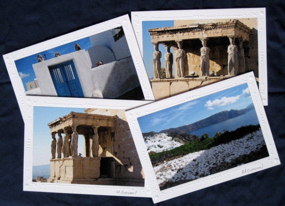 Greece / Acropolis  in Athens / Athena Nike - Set of 4 Blank Photo Picture Note Cards for Travel Lovers