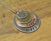Handstamped Family-Mom-Name Necklace, Mixed Metal with Sterling Silver Chain