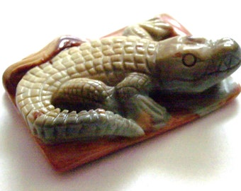 Succor  Creek Jasper Stone Alligator Pendant