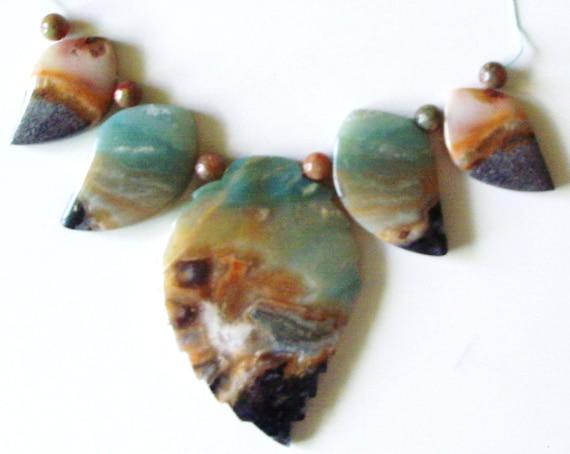 Varigated Amazonite Leaf Bead Set