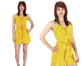 Floral Romper 40s Vintage Inspired Yellow Neon Threads Designs