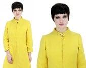 60s MOD Dress Jacket Bright Yellow 70s Mini M