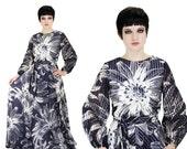 60s Cocktail Gown MOD Formal Hostess Dress Big Floral Sheer Designer Prom Event 1970s 70s M Medium