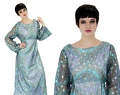 60s Cocktail Dress Metallic Formal Metallic Gown With Bell Sleeves 70s Hippie Boho Bohemian Event Party L Large