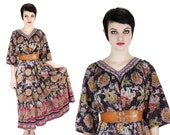 Vintage 70s India Dress Cotton Hippie Bohemian M Reserved for Rebecca Kelly