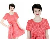 1960s MOD Dress 60s 70s Vintage Coral Floral Mod Mini Circle Skirt Retro Dolly Medium M