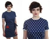 1960s MOD Sailor Dress 60s 1970s Vintage 70s Navy Blue White Anchors With Red Hankie M Medium