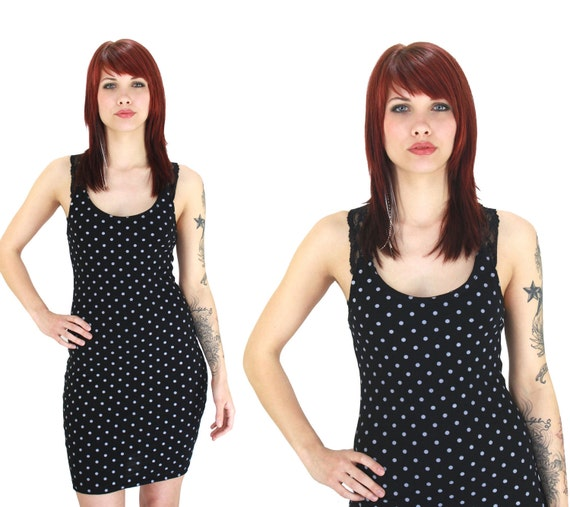 90s Bandage Dress Polka Dots 80s 1990s Inspired Sexy Lace Racerback Bodycon Black White S M Neonthreadsdesigns