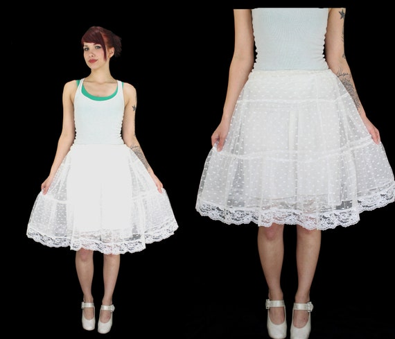 Vintage White Lace Polka Dot Petticoat With Lots Of Ruffles