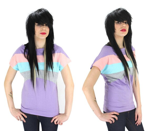Colorblocked Top Purple Batwing Tunic Shirt