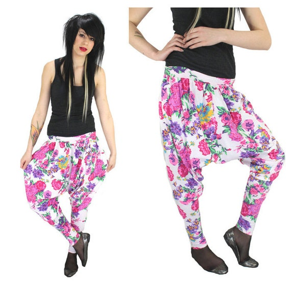 Floral Harem Pants Bright Neon Pink Hammer Dropped Crotch 80s 90s Inspired Medium M