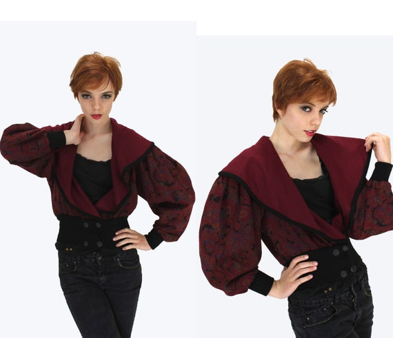 80s New Romantic Jacket Vintage 1980s New Wave Punk Puff Sleeves Burgundy Paisley Cropped Bolero S M Small Medium