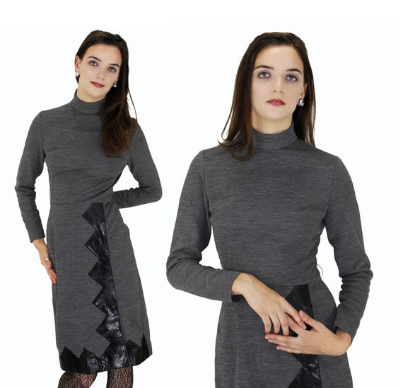 60s Twiggy Dress Vintage Mod 1960s 70s Gray With Black Vinyl Trim Party Go Go Colorblock S Small