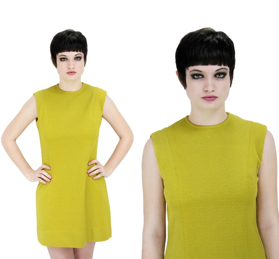 60s MOD Dress Bright Lime Green 70s Mini S M