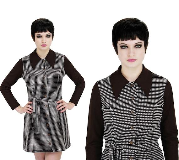 1960s Mod Dress Brown Plaid Mini Vintage 70s S M