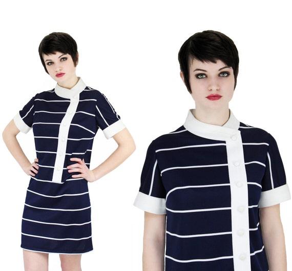 1960s MOD Sailor Dress 60s 1970s Vintage 70s Navy Blue White Stripes M/L