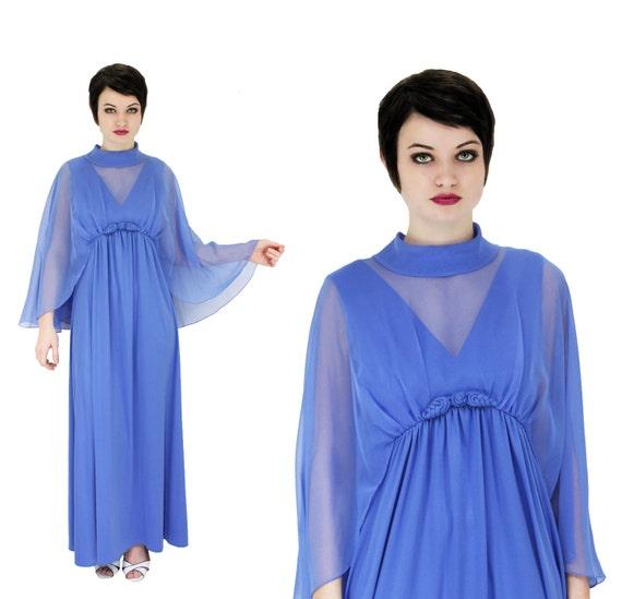 Greek Goddess Dress Vintage Formal 70s 60s Empire Waist Gown Sheer Angel Wings M L Medium Large