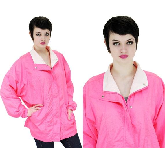 80s Neon Pink  Windbreaker Colorblock Vintage 80s 90s Jacket M L