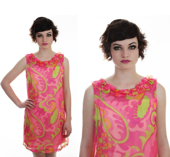 Mod Sheer Babydoll Dress 60s Formal Cocktail Vintage 1960s Bright Neon Floral Dolly Twiggy Go-Go S Small XS