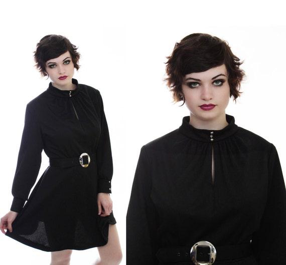 60s MOD Dress Vintage Black 70s Mod Mini Circle Skirt With Gold Buckle Button Details Large L XL