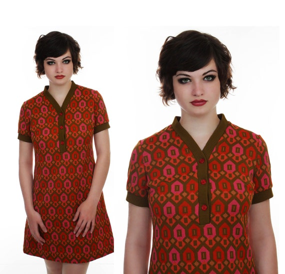 1960s Mod Dress 60s Abstract Psychedelic Mid Century Eames Print Mod Mini 70s Knit M Medium