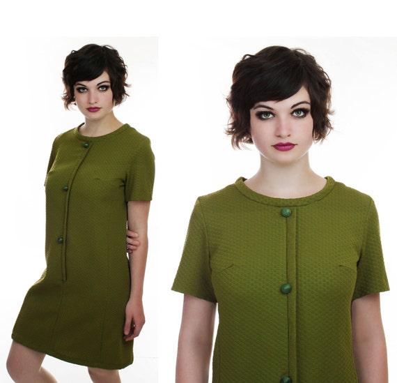 60s Mod Dress Vintage Avocado Green 1960s 1970s 70s Mod Mini Large L XL