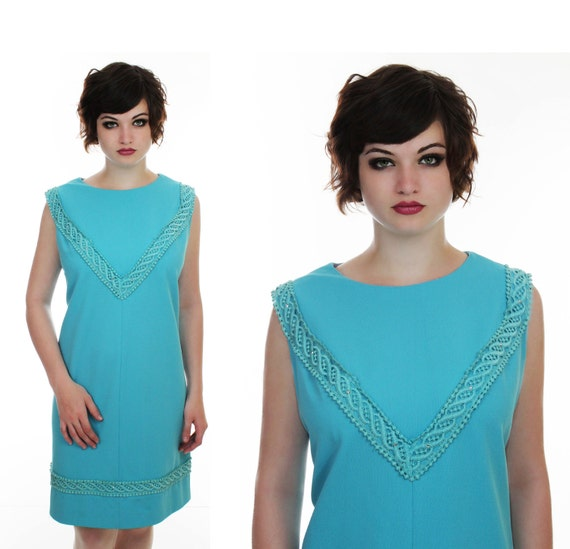 60s Formal Dress Mod Cocktail Blue Beaded Rhinestones 1960s Party Dress Prom Event Mad Men Large L XL Plus