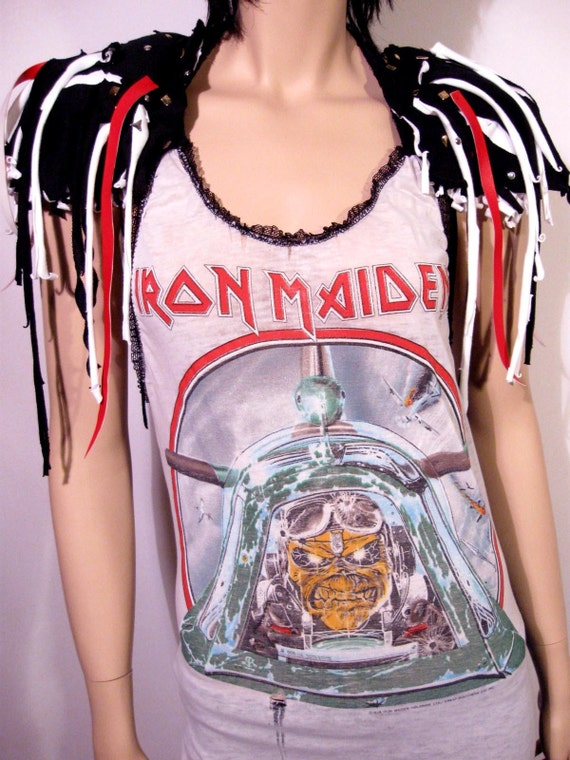 NEONTHREADSDESIGNS RECONSTRUCTED VINTAGE T SHIRT IRON MAIDEN TWISTED SISTER