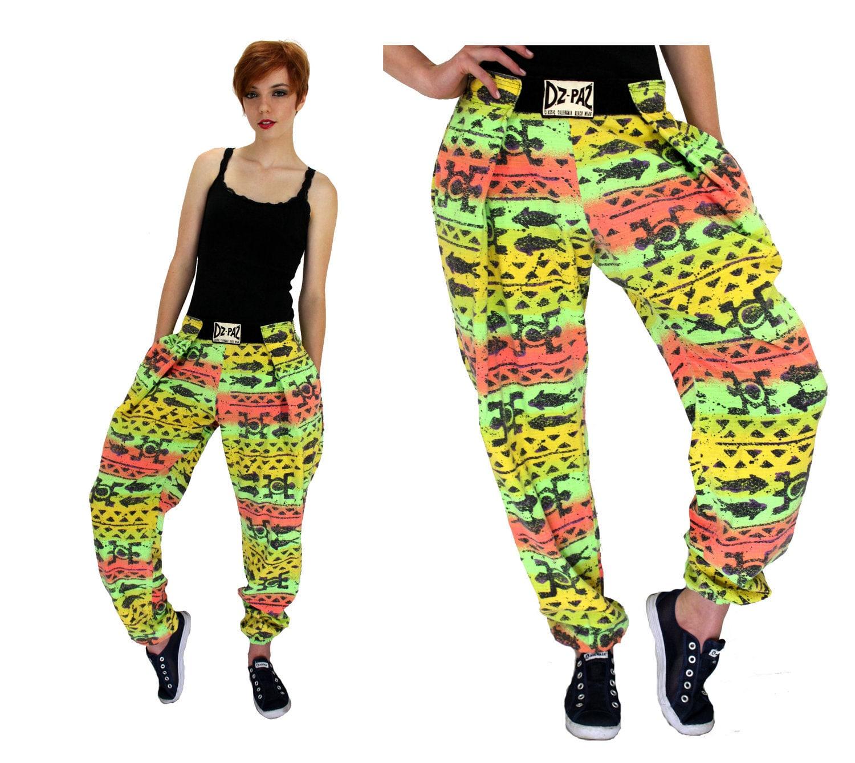 Neon Hammer Pants Vintage 80s 90s Harem Surf Muscle Pants