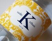 Printable Personalized Water Bottle Labels- Sadie Damask Design