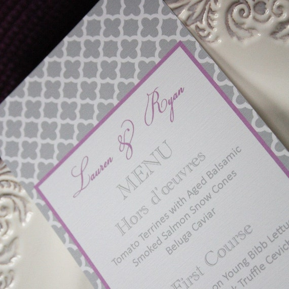 Printable Personalized Menu- Lauren Collection