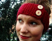 RED HEADBAND EARWARMER with buttons- stay warm without messing up your hair