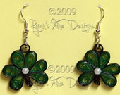 St. Patty's Day Hand-Quilled Shamrock Earrings