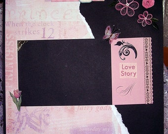 Pretty Pre-made Scrapbook Page - Love with Handquilled Flowers