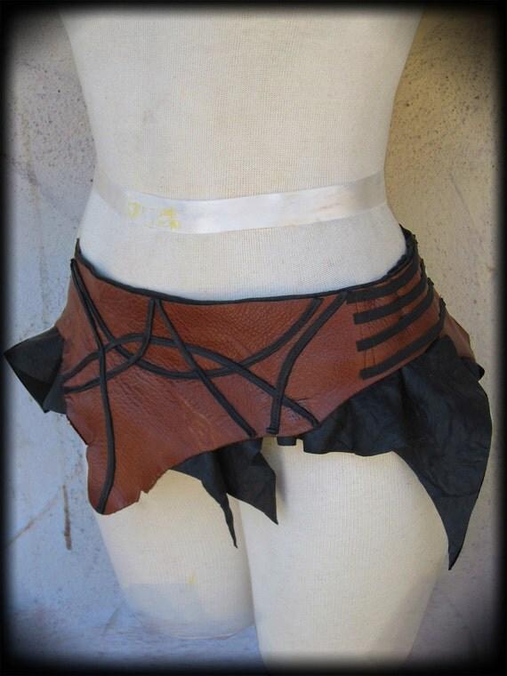 Geometric Leather Mini Skirt Tribal