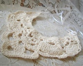 Cream Crocheted Bib Necklace with Pearls Perfect for the Bride