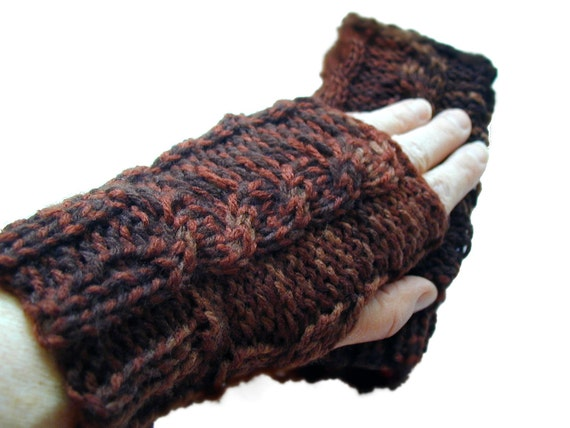 Shades of Hot Chocolate with Cinnamon Cabled Fingerless Gloves Wrist Warmers