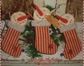 Primitive SNOWMAN Stocking Ornament Christmas Decoration